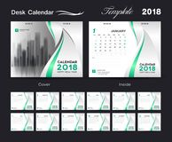 Desk Calendar 2018 template layout design, Green cover, Set of 1 Stock Photo