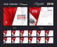 Desk Calendar 2018 template layout design, red cover. Set Desk Calendar 2018 template design, red cover, Set of 12 Months, Week start Sunday Stock Images