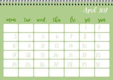 Desk calendar template for month April. Week starts Monday. Desk calendar horizontal template 2017 for month April. Week starts Monday Royalty Free Illustration