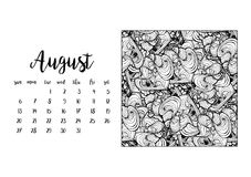 Desk calendar template for month August Stock Images