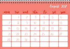 Desk calendar template for month August. Week starts Monday. Desk calendar horizontal template 2017 for month August. Week starts Monday Vector Illustration