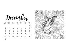 Desk calendar template for month December. Stock Images