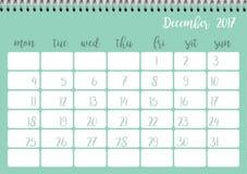 Desk calendar template for month December. Week starts Monday. Desk calendar horizontal template 2017 for month December. Week starts Monday Vector Illustration