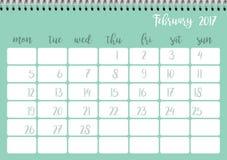 Desk calendar template for month February. Week starts Monday. Desk calendar horizontal template 2017 for month February. Week starts Monday Stock Illustration