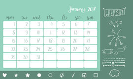 Desk calendar template for month January. Week starts Monday. Bullet journal style desk calendar horizontal template 2017 for month January with elements. Doodle Royalty Free Stock Images
