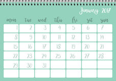 Desk calendar template for month January. Week starts Monday. Desk calendar horizontal template 2017 for month January. Week starts Monday Stock Illustration