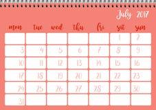 Desk calendar template for month July. Week starts Monday Stock Image