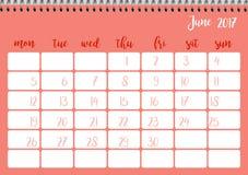 Desk calendar template for month June. Week starts Monday. Desk calendar horizontal template 2017 for month June. Week starts Monday Stock Illustration