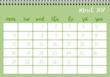 Desk calendar template for month March. Week starts Monday. Desk calendar horizontal template 2017 for month March. Week starts Monday Stock Illustration