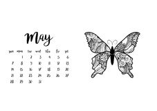 Desk calendar template for month May. Desk calendar horizontal template 2017 for month May. Week starts Sunday Royalty Free Stock Images