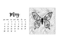 Desk calendar template for month May. Desk calendar horizontal template 2017 for month May. Week starts Sunday Royalty Free Stock Photos