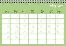 Desk calendar template for month May. Week starts Monday. Desk calendar horizontal template 2017 for month May. Week starts Monday Royalty Free Illustration