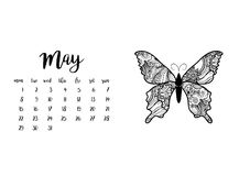 Desk calendar template for month May. Week starts Monday. Desk calendar horizontal template 2017 for month May. Week starts Monday Stock Photos