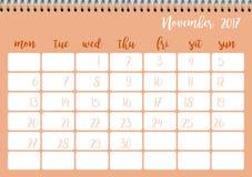 Desk calendar template for month November. Week starts Monday. Desk calendar horizontal template 2017 for month November. Week starts Monday Stock Illustration