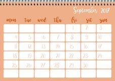 Desk calendar template for month September. Week starts Monday. Desk calendar horizontal template 2017 for month September. Week starts Monday Royalty Free Illustration