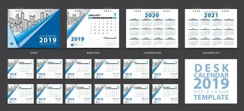 Desk calendar 2019 template, Set of 12 Months, Calendar 2020-2021 artwork, Planner, Week starts on Sunday, Stationery design. Advertisement, Vector layout royalty free illustration