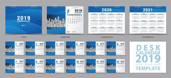 Desk calendar 2019 template, Set of 12 Months, Calendar 2019, 2020, 2021 artwork, Planner, Week starts on Sunday. Stationery design, advertisement, Vector royalty free illustration
