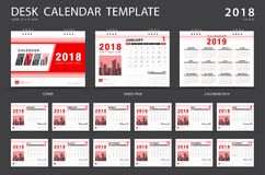Desk calendar 2018 template. Set of 12 Months. Planner. Week starts on Sunday. Stationery design. advertisement. Vector layout Stock Photos