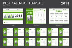 Desk calendar 2018 template. Set of 12 Months. Planner. Week starts on Sunday. Stationery design. advertisement. Vector layout Stock Images