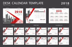 Desk calendar 2018 template. Set of 12 Months. Planner. Week starts on Sunday. Stationery design. advertisement. Vector layout. red cover. business brochure Stock Photography
