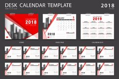 Desk calendar 2018 template. Set of 12 Months. Planner. Week starts on Sunday. Stationery design. advertisement. Vector layout. red cover. business brochure Royalty Free Stock Image