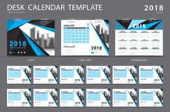 Desk calendar 2018 template. Set of 12 Months. Planner. blue cover Royalty Free Stock Photography