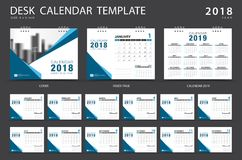 Desk calendar 2018 template. Set of 12 Months. Planner. Week starts on Sunday. Stationery design. advertisement. Vector layout Royalty Free Stock Photography