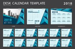 Desk calendar 2018 template. Set of 12 Months. Planner. Week starts on Sunday. Stationery design. advertisement. Vector layout. blue cover Stock Images