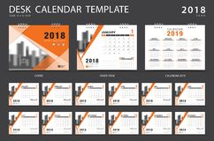 Desk calendar 2018 template. Set of 12 Months. Planner. Week starts on Sunday. Stationery design. advertisement. Vector layout. orange cover. business brochure stock illustration