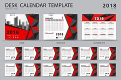 Desk calendar 2018 template. Set of 12 Months. Planner. Week starts on Sunday. Stationery design. advertisement. Vector layout. red cover Stock Images