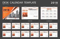 Desk calendar 2018 template. Set of 12 Months. Planner. Week starts on Sunday. Stationery design. advertisement. Vector layout. Orange cover. business brochure vector illustration