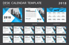 Desk calendar 2018 template. Set of 12 Months. Planner. Week starts on Sunday. Stationery design. advertisement. Vector layout. blue cover. business brochure stock illustration