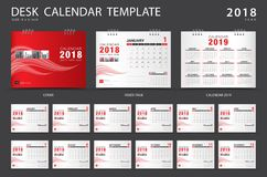 Desk calendar 2018 template. Set of 12 Months. Planner. Week starts on Sunday. Stationery design. advertisement. Vector layout. red cover. business brochure Stock Photo