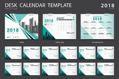 Desk calendar 2018 template. Set of 12 Months. Planner. green cover Royalty Free Stock Image