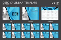 Desk calendar 2019 template. Set of 12 Months. Planner. Week starts on Sunday. Stationery design. advertisement. Vector layout. blue cover. business brochure vector illustration