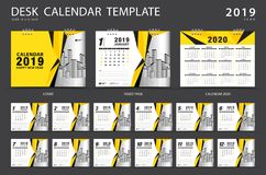 Desk calendar 2019 template. Set of 12 Months. Planner. Week starts on Sunday. Stationery design. advertisement. Vector layout. Yellow cover. business brochure vector illustration