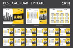 Desk calendar 2018 template. Set of 12 Months. Royalty Free Stock Images