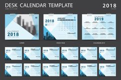 Desk calendar 2018 template. Set of 12 Months. Planner. Week starts on Sunday. Stationery design. advertisement. Vector layout Stock Photo