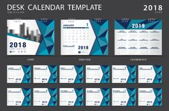 Desk calendar 2018 template. Set of 12 Months. Planner. Week starts on Sunday. Stationery design. advertisement. Vector layout. blue cover stock illustration
