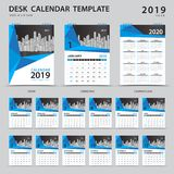 Desk calendar 2019 template. Set of 12 Months. Planner. Week starts on Sunday. Stationery design. advertisement. Vector layout. Blue cover. business brochure Stock Image