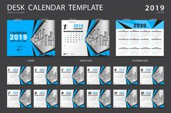Desk calendar 2019 template. Set of 12 Months. Planner. Week starts on Sunday. Stationery design. advertisement. Vector layout. blue cover. business brochure stock illustration