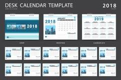 Desk calendar 2018 template. Set of 12 Months. Planner. Week starts on Sunday. Stationery design. advertisement. Vector layout vector illustration