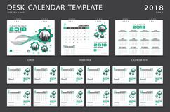 Desk calendar 2018 template. Set of 12 Months. Planner. Week starts on Sunday. Stationery design. advertisement. Vector layout Royalty Free Illustration