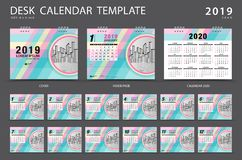 Desk calendar 2019 template. Set of 12 Months. Planner. Week starts on Sunday. Stationery design. advertisement. Vector layout. Pastel cover. business brochure stock illustration
