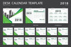 Desk calendar 2018 template. Set of 12 Months. Planner. Week starts on Sunday. Stationery design. advertisement. Vector layout. green cover. business brochure Stock Image