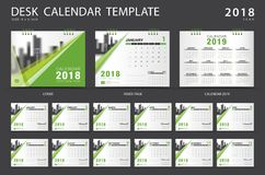 Desk calendar 2018 template. Set of 12 Months. Planner. Week starts on Sunday. Stationery design. advertisement. Vector layout. green cover. business brochure royalty free illustration
