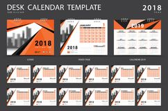 Desk calendar 2018 template. Set of 12 Months. Planner. Week starts on Sunday. Stationery design. advertisement. Vector layout. Orange cover. business brochure Stock Photo