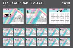 Desk calendar 2019 template. Set of 12 Months. Planner. Week starts on Sunday. Stationery design. advertisement. Vector layout. Pastel cover. business brochure vector illustration