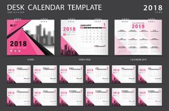Desk calendar 2018 template. Set of 12 Months. Planner. Week starts on Sunday. Stationery design. advertisement. Vector layout. pink cover. business brochure vector illustration