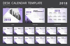 Desk calendar 2018 template. Set of 12 Months. Planner. Week starts on Sunday. Stationery design. advertisement. Vector layout. purple cover. business brochure Stock Illustration